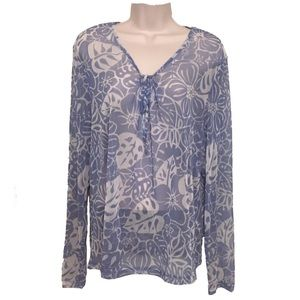 New York & Company blue floral top XL
